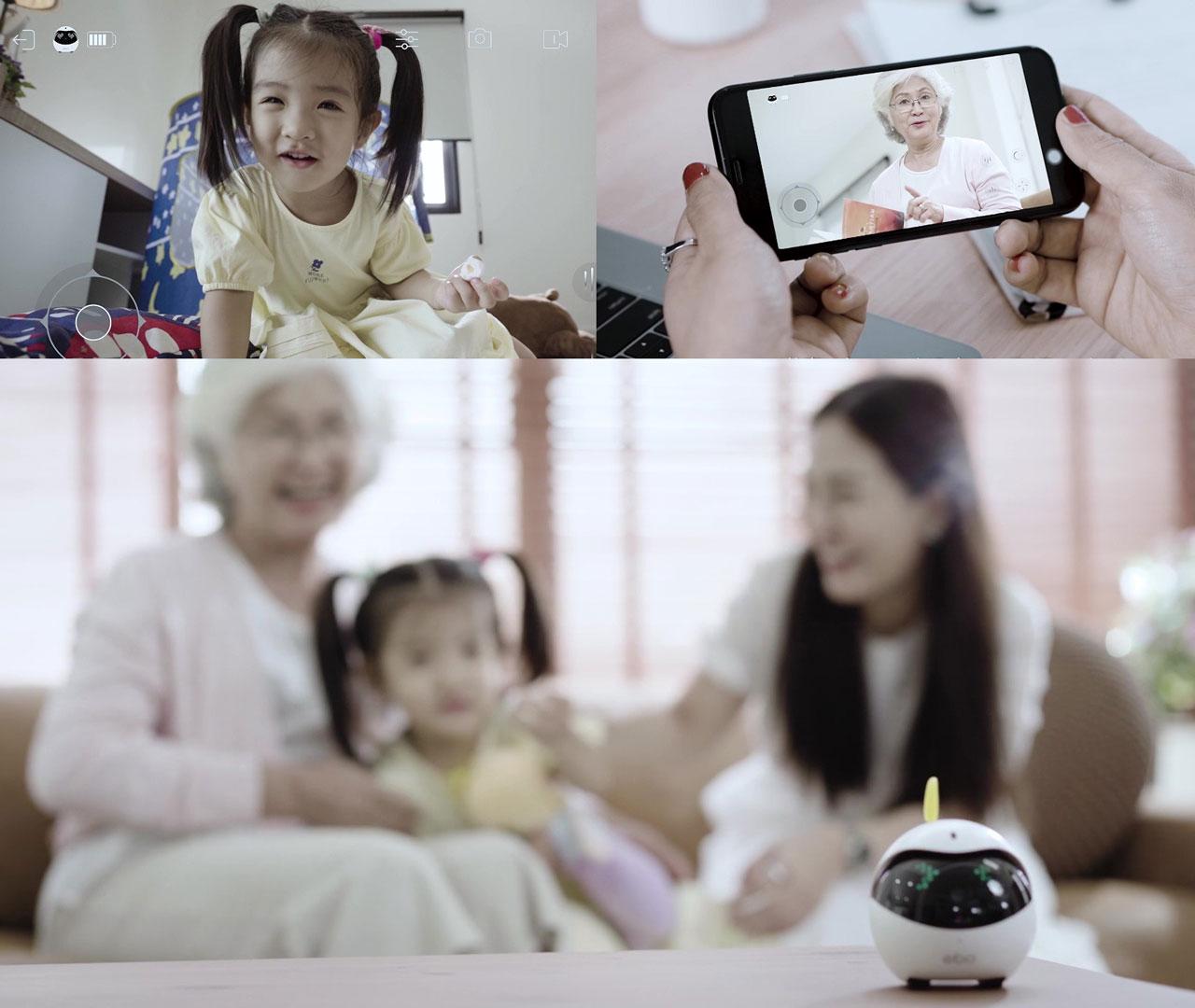 Eboは高齢者や幼い子供、ペットを残して外出するのが不安。そんなときにはEboが便利、いつでも家庭内の様子をスマホでチェックすることができます。スピーカーとマイクを内蔵しているので、会話(双方向音声)ができます。離れていても安心して見守ることのできる見守りカメラの役割もあります