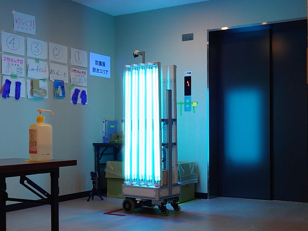 神奈川県新型コロナウイルス感染症の軽症者等の宿泊療養施設で殺菌ロボット稼働(走行、UV-C照射、UV-C照射前後の殺菌効果)1