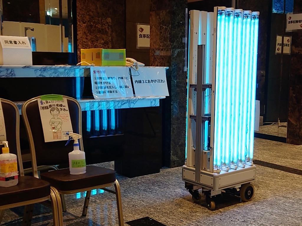 神奈川県新型コロナウイルス感染症の軽症者等の宿泊療養施設で殺菌ロボット稼働(走行、UV-C照射、UV-C照射前後の殺菌効果)2