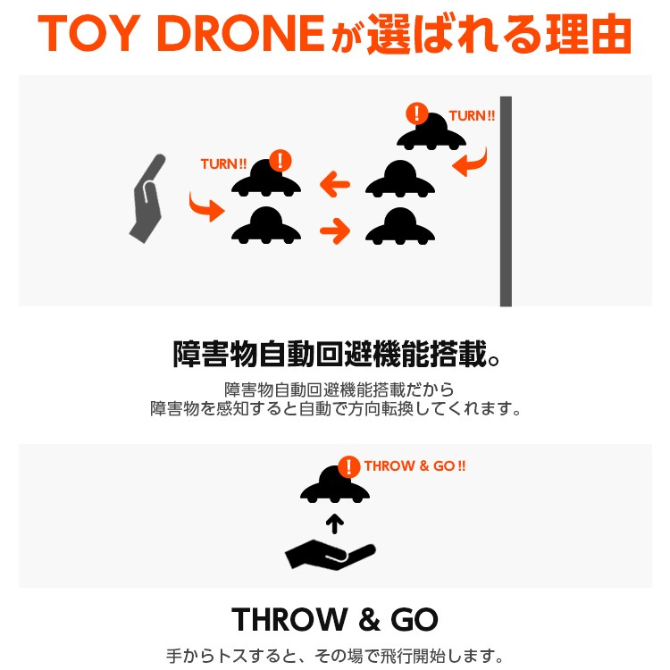UFO Drone(UFOドローン)ドローンには高精度のセンサーが搭載されていて、飛行中に障害物を感知すると、自動的に飛行方向を変えて回避します。強力なプロペラやモーターでドローンの360度回転や安定飛行を維持します。