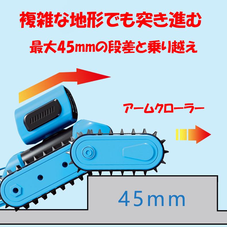 ロボットクローラーは車体クローラーとアームクローラー、二つのクローラーがあります。推進しながら、アームクローラーで車体を持ち上げ、段差を乗り越えます。