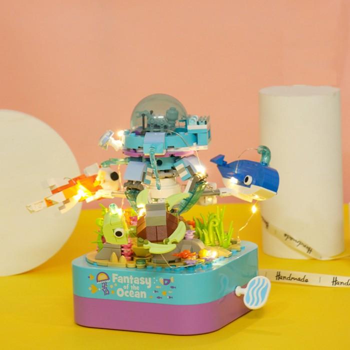 組み立て ブロック オルゴール ギミック 海底探検 ロボット潜水艦に乗って、海底を見に行こう!
