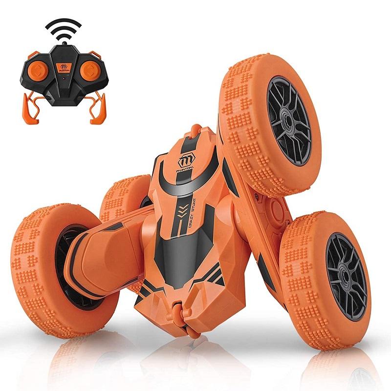 四輪駆動で両面運転と360度回転ができるラジコンカー、走行性能抜群、様々な地形に対応、ひっくり返っても走り続ける。ゴム製タイヤは柔軟で耐衝撃、室内でも室外でも遊べる。かっこいいデザインで子供から大人まで楽しめる、プレゼントに最適。