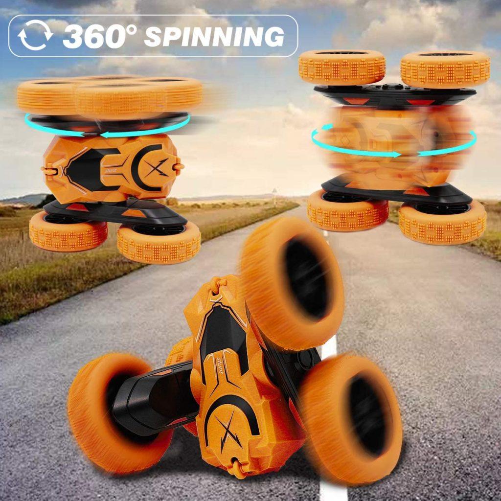 360度回転ができる、多機能なスタントカーが登場!ひっくり返っても、立ち上がっても、壁にぶつかっても、本体の表裏が入れ替わりながら走り続けます。