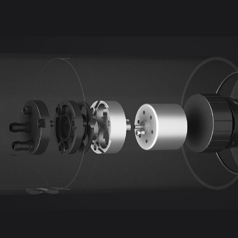 省エネ対策万全! 高性能モーター搭載、OFF時の自然電力消費を最小限にとどめます。